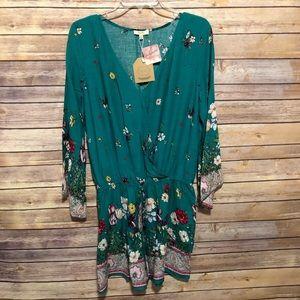 Magnolia Boutique Kori Emerald Green Romper M